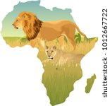 african savannah with lion and... | Shutterstock .eps vector #1012667722