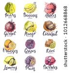 fruits vector fruity apple... | Shutterstock .eps vector #1012668868