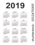 calendar 2019 year vector... | Shutterstock .eps vector #1012670305