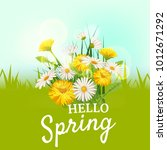 hello spring  a bouquet of...   Shutterstock .eps vector #1012671292