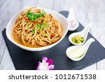 kao soi or thai curry noodles... | Shutterstock . vector #1012671538