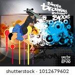silhouette of skateboarder | Shutterstock .eps vector #1012679602