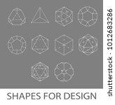 white stroke geometric shapes... | Shutterstock .eps vector #1012683286