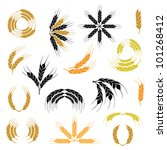 wheat ear icon and wreath set | Shutterstock .eps vector #101268412
