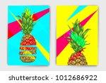 vector pineapple mock up set.... | Shutterstock .eps vector #1012686922