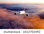 sunset flight. the passenger... | Shutterstock . vector #1012702492