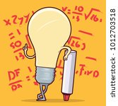 light bulb character doing math ... | Shutterstock .eps vector #1012703518