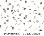 falling british one pound coins.... | Shutterstock . vector #1012703536
