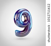 galaxy number 9. 3d render of... | Shutterstock . vector #1012711612