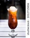 thai iced tea ice cream float... | Shutterstock . vector #1012715836