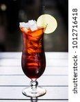mango thai iced tea in tall... | Shutterstock . vector #1012716418