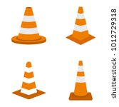 road cone icon set. flat set of ... | Shutterstock .eps vector #1012729318