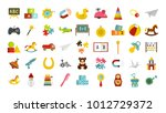 kid toys icon set. flat set of... | Shutterstock .eps vector #1012729372