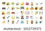 kid toys icon set. flat set of... | Shutterstock .eps vector #1012729372