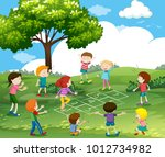 happy children playing... | Shutterstock .eps vector #1012734982