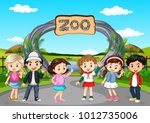 many children visiting the zoo... | Shutterstock .eps vector #1012735006