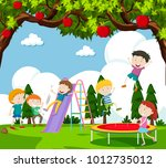 children playing slide and... | Shutterstock .eps vector #1012735012