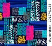 memphis seamless  pattern in... | Shutterstock .eps vector #1012741258