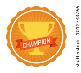 champion badge with trophy... | Shutterstock .eps vector #1012743766