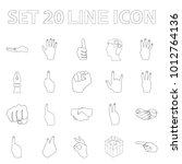 hand gesture outline icons in... | Shutterstock . vector #1012764136