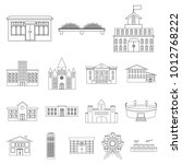 building repair outline icons... | Shutterstock . vector #1012768222