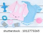 baby clothes concept. blue... | Shutterstock . vector #1012773265