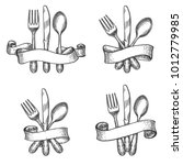 cutlery sketch. vintage dinner... | Shutterstock .eps vector #1012779985