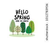 hello spring. green forest feel ... | Shutterstock .eps vector #1012783936