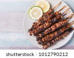 pork barbecue with peanut sauce ... | Shutterstock . vector #1012790212