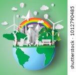 paper art of eco friendly... | Shutterstock .eps vector #1012790485