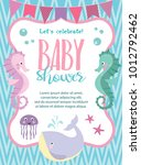baby shower card with cartoon... | Shutterstock .eps vector #1012792462