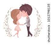 cute couple kiss. man and women ...   Shutterstock .eps vector #1012798135