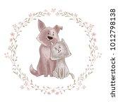 cute dog and cat cartoon couple ...   Shutterstock .eps vector #1012798138