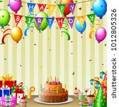 birthday background with... | Shutterstock .eps vector #1012805326