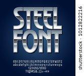 vector steel font. set of... | Shutterstock .eps vector #1012822216
