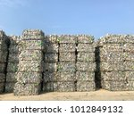 plastic bottles compressed into ... | Shutterstock . vector #1012849132