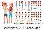 fitness girl  man vector.... | Shutterstock .eps vector #1012856356
