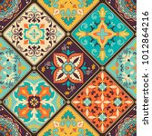 seamless colorful patchwork...   Shutterstock .eps vector #1012864216