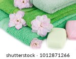 folded towels  soaps and... | Shutterstock . vector #1012871266