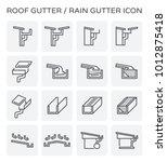 Rain Gutter Vector Line Icon....