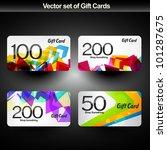 vector set of four gift card | Shutterstock .eps vector #101287675