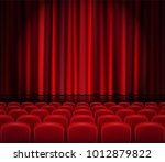 closed red curtains with seats... | Shutterstock .eps vector #1012879822
