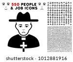 unhappy catholic priest icon...   Shutterstock .eps vector #1012881916