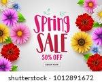 spring sale vector banner... | Shutterstock .eps vector #1012891672