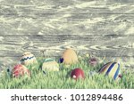 holiday vintage wooden... | Shutterstock . vector #1012894486