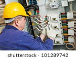 one electrician at work with... | Shutterstock . vector #101289742