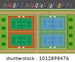 top view of tennis court with... | Shutterstock .eps vector #1012898476