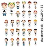 kids hold capital letters... | Shutterstock .eps vector #101290456