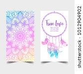 true love. yoga studio card... | Shutterstock .eps vector #1012904902