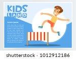 Smiling sportive boy jumping hurdle, kids land banner flat vector element for website or mobile app